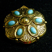 """Vintage """"ART"""" Scarf Clip/Pin Set With Turquoise Blue Cabochons"""