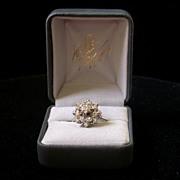 """Diamond & 14K White Gold """"Snowflake"""" Ring, Mid 20th Century"""