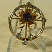 Vintage VanDell 12K Gold Filled Pin w/Purple & Clear Rhinestones