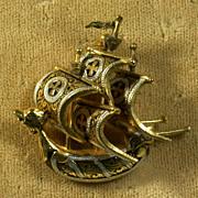 Toledo Damascene 3-Masted Sailing Ship Pin, Vintage