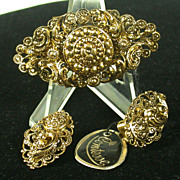"""Mid Century W. Germany """"Comtesse"""" Pin & Earclips, Tags"""