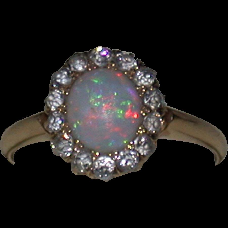 Opal, Diamond & 18K Gold Ring, Vintage Estate, Size 5