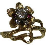 Art Nouveau 14K Diamond/Ruby Floral Vintage Ring, Size 7 ¼