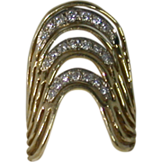 21 Diamonds & 14K Gold Vintage Lady's Ring, Unusual
