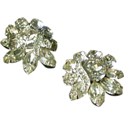 Eisenberg Ice Clear Rhinestone Earclips, Vintage, Glittery!