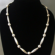 """Mexican Sterling Silver Bead Necklace, 25"""" Length, Vintage"""