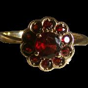 Victorian Period Garnet Flower Ring, Size 8, Classic!