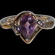 Amethyst/Diamond Ring In 10K Gold/Sterling Silver Setting