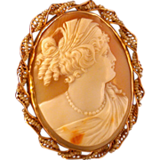 Antique Shell Cameo of Ceres, 10K Gold and Seed Pearl Frame