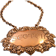 """Silver Decanter Collar on Chain, Engraved """"Scotch"""", Vintage"""