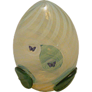 Art Glass Egg With Butterfly And Applied Leaf Decoration