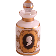 Cased Glass Enameled Perfume Bottle W/Cameo, Vintage