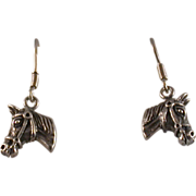 Sterling Vintage Horse's Head Earrings, 925 French Wires