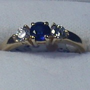 Sapphire & Diamond Ring, 14K Yellow Gold, Size 4