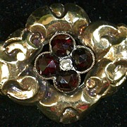 Garnet/Pearl  10K Gold-top Victorian Pin w/Silver Back