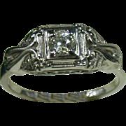 18K White Gold & Diamond Lady's Ring, Size 6 ¾, Vintage 1930-40s