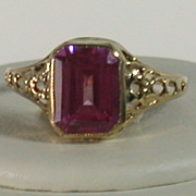 Pink Tourmaline & 10K Yellow Gold Vintage Ring, Size 4 ¾