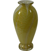 Vintage Cased Glass Vase, Yellow, White & Clear