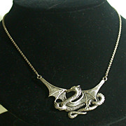 """Sterling Silver Winged Dragon Necklace 16.5"""""""