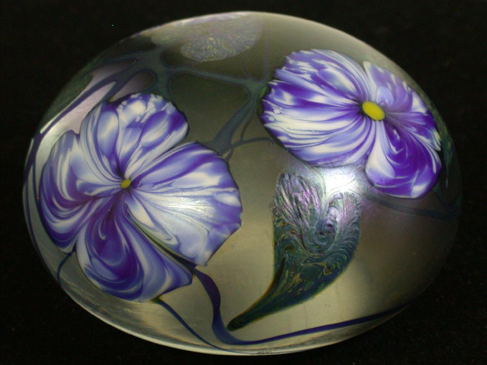 "David Lotton Signed ""Flora"" Art Glass Paperweight, C. 1978"