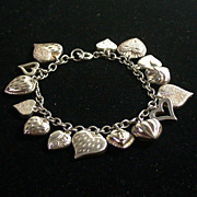 Vintage Sterling Silver Charm Bracelet w/15 Sterling Hearts