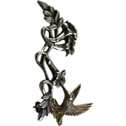 Sterling Silver Hummingbird & Trumpet Flowers Pin