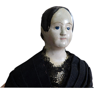 Antique Paper Mache Milliner's Model Doll with Blue Eyes and Exposed Ears