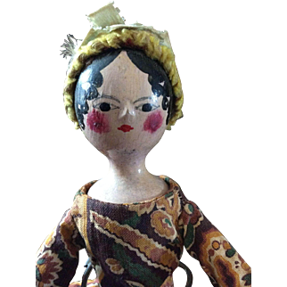 Antique Late 18thc Directoire Period Wooden Doll in Old Printed Box