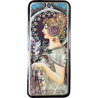 Handmade Fedoskino Russian Lacquer Box with Mother of Pearl Art Nouveau Lady