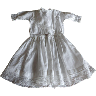 Antique Fine White Cotton and Lace Dress for Antique Bisque German or French Doll