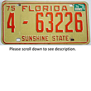 Old Florida License Plate 1975