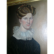 Fine 19th century American Federal Oil Painting - Portrait of a Handsome Woman 1825