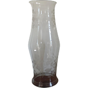 Large Antique 19th century Etched Glass Hurricane Shade for a Candle Stick