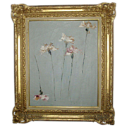 Fine Modern Floral Still Life Oil Painting by Ivan Mosca  - Carnations 1961
