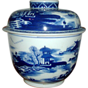 Antique Chinese Export Blue & White Porcelain Storage Jar and Cover Qing