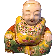 Antique Early 19th century Chinese Porcelain Model of Buddha in Famille Rose Glaze