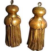 Pair of 19th c. Napoleon III Carved & Gilt Wood Drapery Tassels