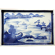 Antique 19th century Chinese Blue & White Porcelain Tray