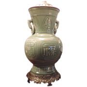 Antique 19th c.  Chinese Celadon Porcelain Vase as Table Lamp