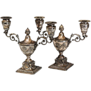 Pair 19th century Sheffield Silver Plate Urn Form Candelabra.