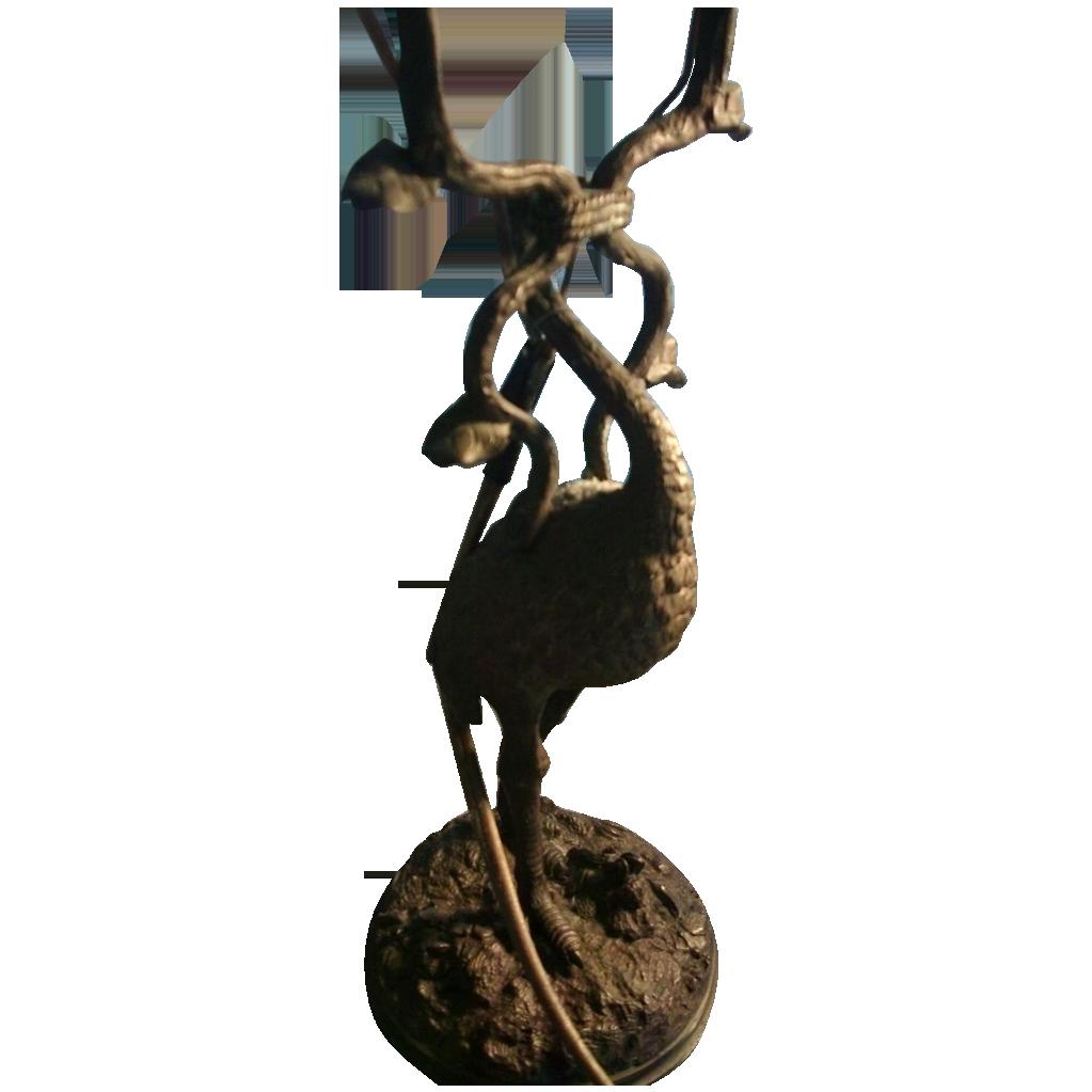 Antique 19th c. Vienna Bronze Ostrich Candelabra Electrified Lamp