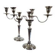 Fine Pair Antique George III Old Sheffield Silver on Copper Adam Style Candelabra c. 1790
