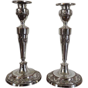 Fine Pair George III Old Sheffield Silver on Copper Candlesticks in the Adam Taste 179e b0