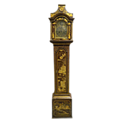 Antique 18th century English George III Japanned Lacquer Longcase Clock by John Monkhouse 1765