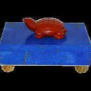 Lapis Lazuli Hinged Jewelry Box Mounted with a Carved Jasper Turtle & Cornelian Feet by Loyd Paxton