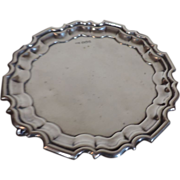 Walker & Hall Sterling Silver Scrolled Footed Waiter Salver Tray with Scalloped Rim Sheffield 1926