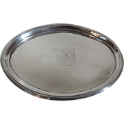 Antique 19th century English Regency Sterling Silver Tea Pot Coaster Stand Salver Tray with Crest