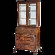 Antique 18th century English George II Walnut Secretary Desk Cabinet