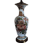 Large Antique 19th century Opaline Baluster Shaped Vase with Hand Painted Flowers as a Lamp