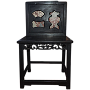 Antique 19th century Chinese Ebonized chair with Variegated Red Scholar Stone Inserts